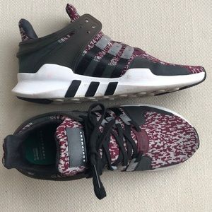 ADIDAS EQT WINE AND GRAY TRAINERS